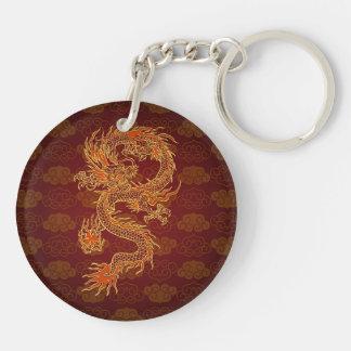 Traditionell kinesisk röd drake dubbelsidigt rund akryl nyckelring