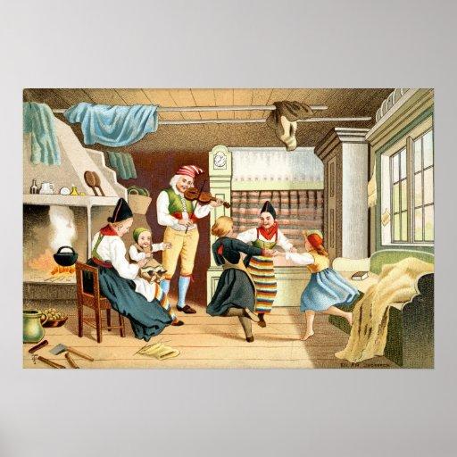 Traditionell skandinavisk familj print