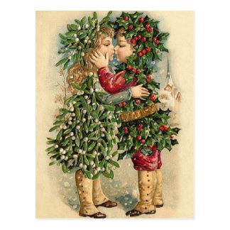 Traditionelljärneken lurar kyssande jul vykort