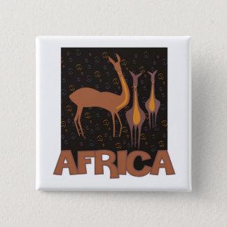Traditionellt afrikanbruntkonstverk av antilop standard kanpp fyrkantig 5.1 cm