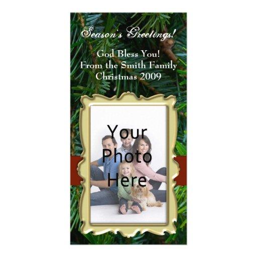 Traditionellt beställnings- fotokort, vintergrönt