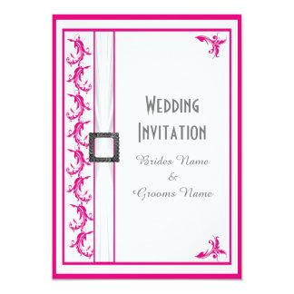 Traditionellt bröllop för Fuchsia rosa vit 12,7 X 17,8 Cm Inbjudningskort