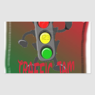 Trafikstockning Rektangelformade Klistermärken