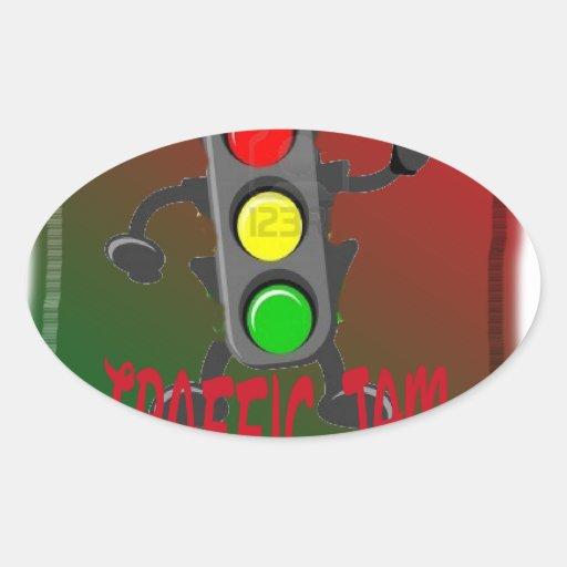 Trafikstockning Ovalformat Klistermärke