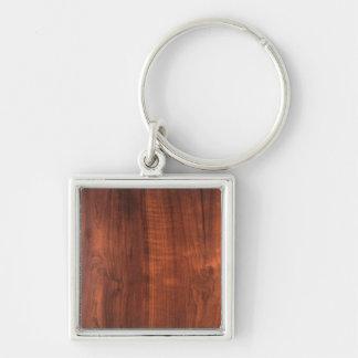 Träfullföljande för Wood valnötTeakwood Fyrkantig Silverfärgad Nyckelring