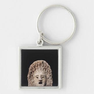 Tragiskt maskera fyrkantig silverfärgad nyckelring