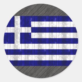 Trägrekisk flagga rund klistermärke