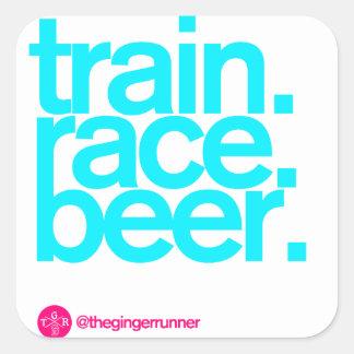 """TRAIN.RACE.BEER. 3"""" klistermärkear Fyrkantigt Klistermärke"""