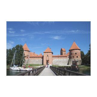 Trakai slott slågen in kanfas canvastryck