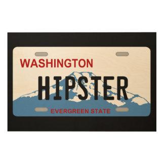 Träkonst för Washington hipsterregistreringsskylt Trätavla