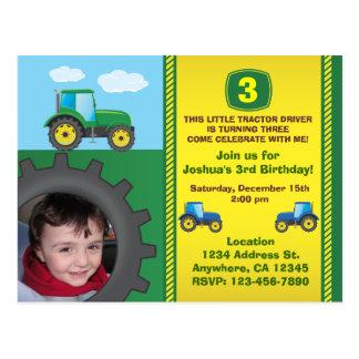Traktorfödelsedagsfest inbjudanvykort vykort