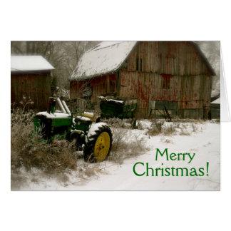 Traktorjulkort: Traktor & vagn Hälsningskort