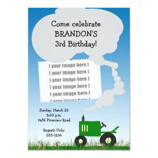 Traktorpartyinbjudan: Den gröna traktoren, 12,7 X 17,8 Cm Inbjudningskort