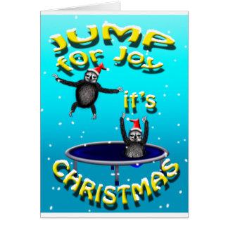 trampolining sloths dess jul hälsningskort
