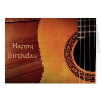 Trämusikgrattis på födelsedagen för akustisk hälsningskort