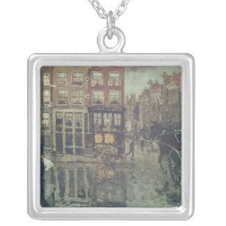 Tränga någon av Leidsche kvadrerar, Amsterdam Silverpläterat Halsband