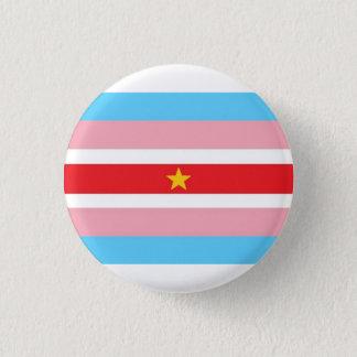 Trans* flagga med den röda flagga, gul stjärna mini knapp rund 3.2 cm