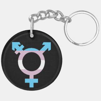 Trans.-flaggasymbol Dubbelsidigt Rund Akryl Nyckelring