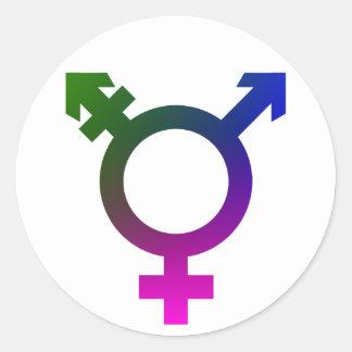 Trans* symbolrosor/blått/grönt runt klistermärke