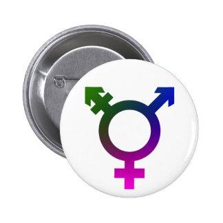 Trans* symbolrosor/blått/grönt standard knapp rund 5.7 cm