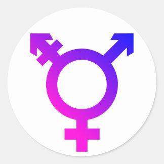 Trans* symbolrosor/blått runt klistermärke