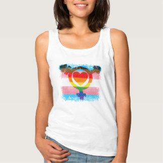 Transgenderflagga med trans.-symbol och hjärta linne