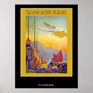 Transpacific flyg för vintage affisch