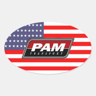 Transport för amerikanpridePAM Ovalt Klistermärke