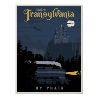 Transylvania med tåg reser affischen poster