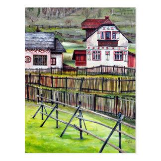 Transylvania rumänien, pittoreskt målat landskap vykort