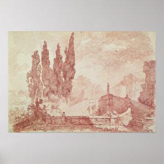 Trappuppgång i trädgårdarna av villad'Est Poster