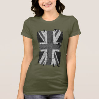 Trasig Grungy monokromUK-flagga (den fackliga Tee Shirts