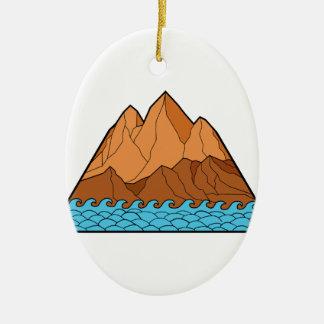 Trasiga den Mono bergvågar fodrar Julgransprydnad Keramik