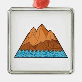Trasiga den Mono bergvågar fodrar Julgransprydnad Metall