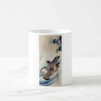 Träsnitt för färg för Ando Hiroshige Mandarinankor Kaffemugg