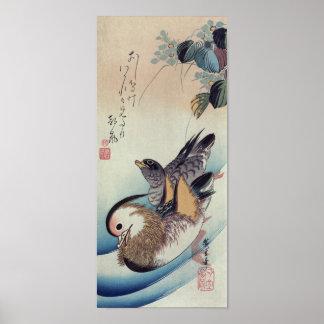 Träsnitt för färg för Ando Hiroshige Mandarinankor Poster