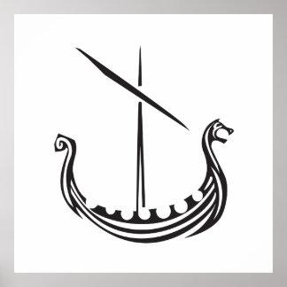 Träsnitt Viking Longship Poster