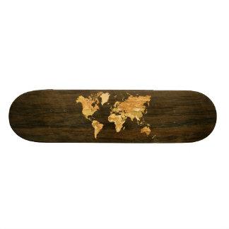 Trävärldskarta Skateboard Bräda 21,5 Cm