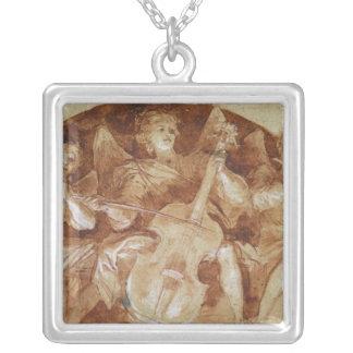 Tre ängelmusiker silverpläterat halsband