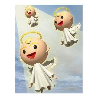 Tre änglar, CG, 3D, illustration, låg vinkel Vykort