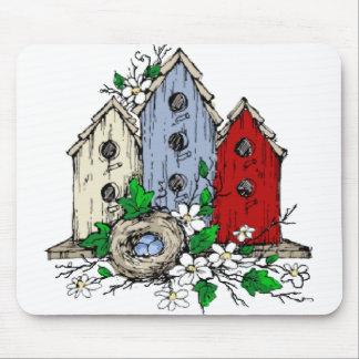 Tre Birdhouses, en bygga bo och blommor Mus Matta
