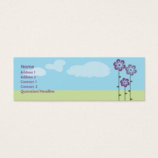Tre blommor - smala litet visitkort