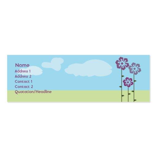 Tre blommor - smala set av smala visitkort