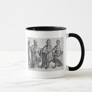 Tre Cherokee chefer för amerikan, 1762 (gravyr) Mugg