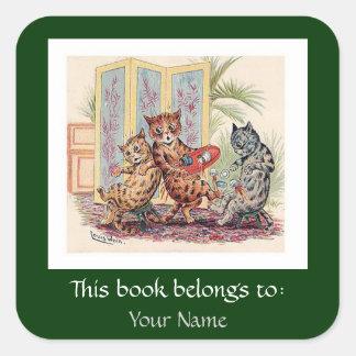 Tre fallande katter av Louis Wain Fyrkantigt Klistermärke