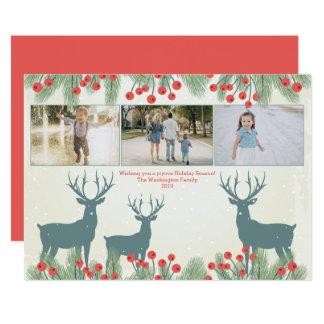 Tre för för järnekbär och hjort för 3 foto julkort 12,7 x 17,8 cm inbjudningskort