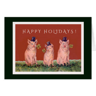 Tre förtjusande grisar som önskar dig glad helg hälsningskort