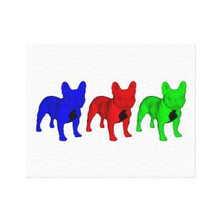 Tre franska bulldoggar RGB Canvastryck