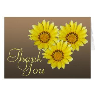 Tre gula tack för blommigt för Gerberadaisyfoto OBS Kort