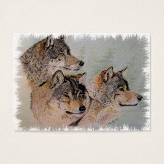 tre inramade varger visitkort